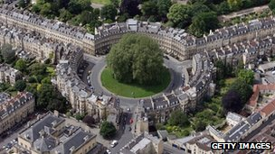 The Circus and surrounding roads in Bath