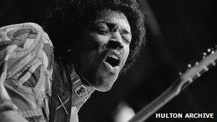 Hendrix performing at the Isle of Wight concert in 1970