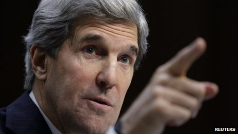 U.S. Senator John Kerry (D-MA) testifies during his Senate Foreign Relations Committee confirmation hearing to be secretary of state, on Capitol Hill in Washington, in this January 24, 2013 file photo.