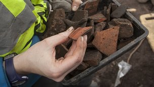 Samian ware pottery pieces at Croes Atti site near Flint