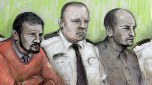 An artist&#039;s sketch of Jason Richards (l) and Ben Hope [r] in court, with a prison officer in between