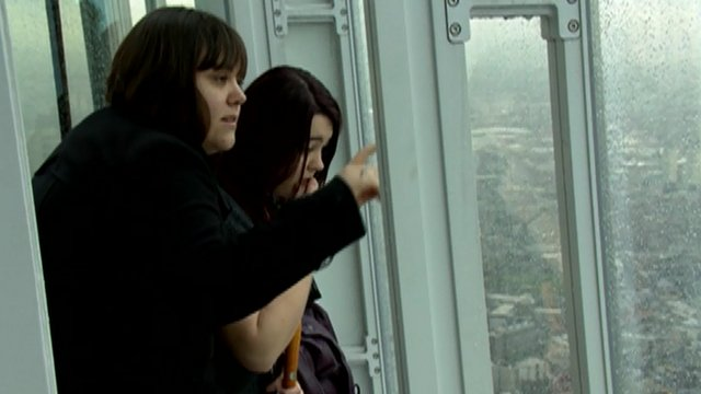 Women look out from Shard