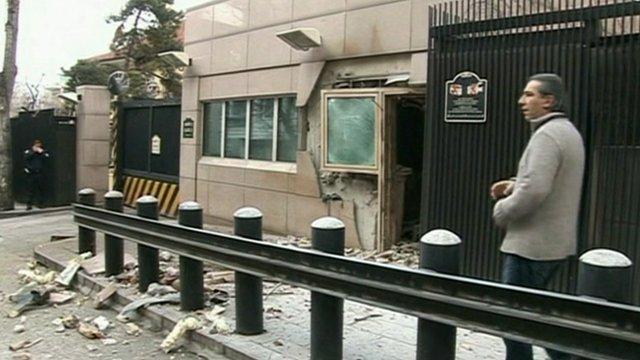 Damaged entrance to the US embassy in Ankara