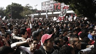 Al Ahly fans gather at the club's headquarters to celebrate last week's verdict on those involved in the Port Said tragedy