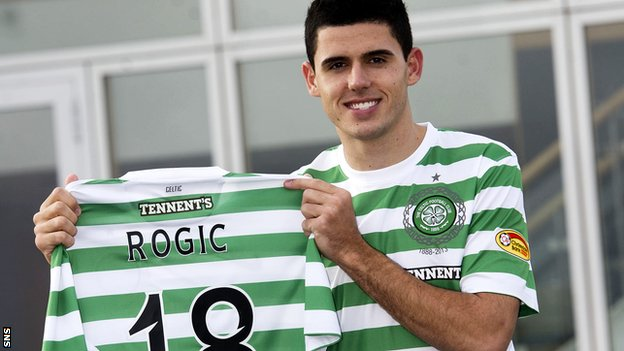 Celtic's new midfielder Tom Rogic arrived from Australia