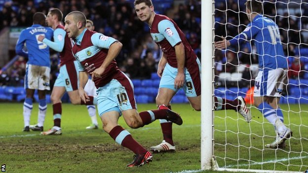 Martin Paterson celebrates his equaliser for Burnley