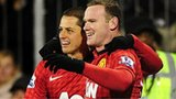 Manchester United goalscorer Wayne Rooney (right) and fellow striker Javier Hernandez