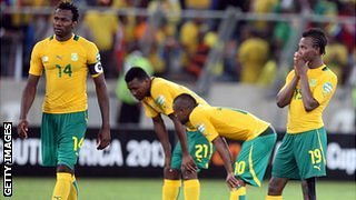 South Africa&#039;s players react to losing on penalties