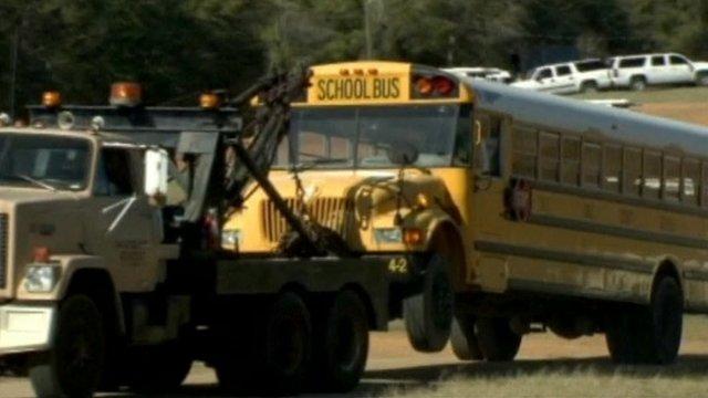 School bus being towed