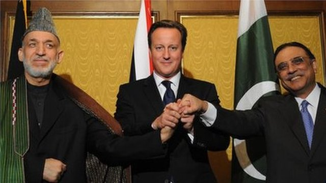 (r to l) Asif Ali Zardari, David Cameron and Hamid Karzai in New York (26 September 2012)