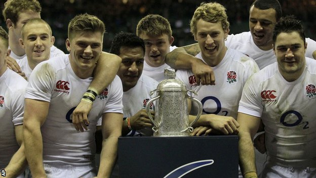 England players celebrate winning the Calcutta Cup against Scotland