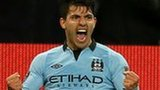 Manchester City striker Sergio Aguero (right) celebrates his equaliser against Liverpool