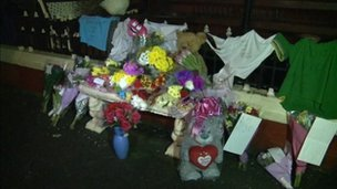 Tributes at the scene where Sasha was found