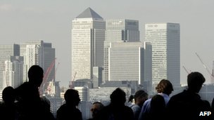 Skyline of investment banks at Canary Wharf in London