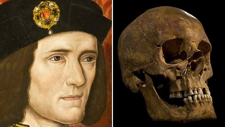 Richard III portrait compared to Greyfriars  skull