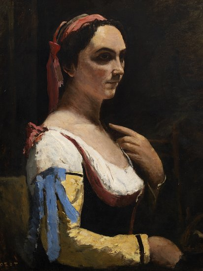 The Italian Woman, or Woman with Yellow Sleeve by Jean-Baptiste Camille Corot