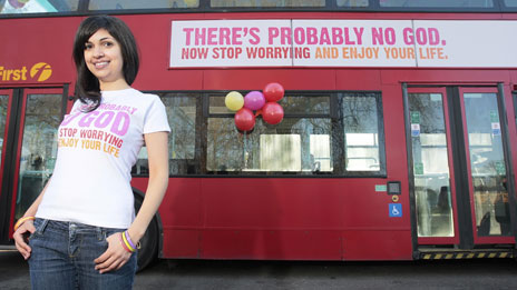 "Bus with banner ad reading ""There's probably no god - now stop worrying and enjoy your life"""