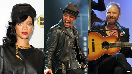 Rihanna, Bruno Mars and Sting