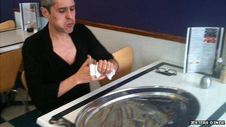 Robert Pinto eating the Kidz Breakfast at Jester's Diner