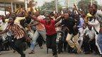 Nigeria soccer fans celebrate