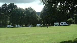 Police at fields in Mold