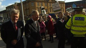 Prince Charles and demonstrators in Oxford