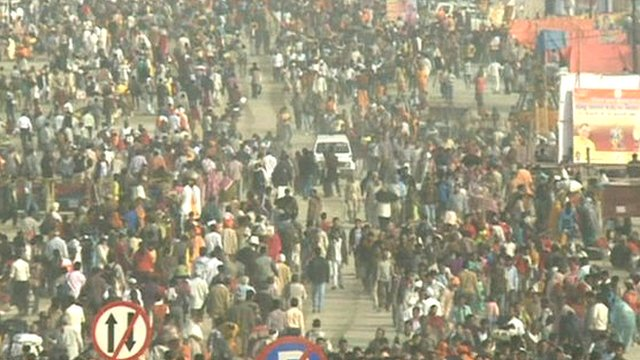 Crowds attending the Kumbh Mela festival near Allahabad