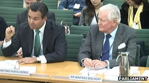 Antonio Horta-Osorio (left) and Winfried Bischoff giving testimony to the banking standards committee