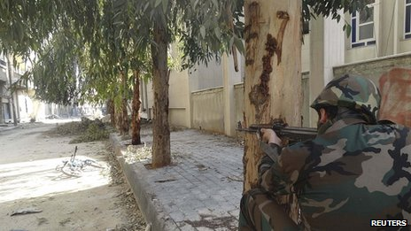 Syrian government soldier in Darya, near Damascus. 4 Feb 2013