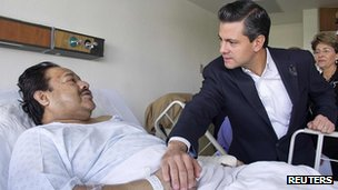 President Enrique Pena Nieto visits survivors. 2 Feb 2013