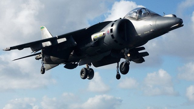 The upgraded Harrier Jump Jet in flight