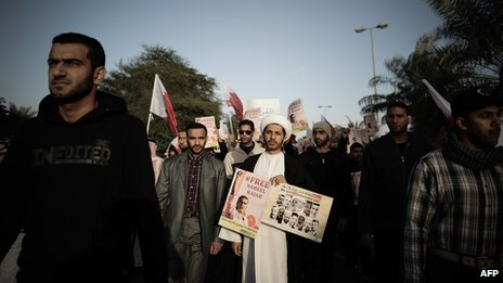 Wefaq leader Sheikh Ali Salman leads protest march Jan 2013