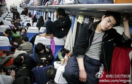 Cramped conditions on a train in China