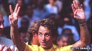 Greg LeMond celebtrates his third Tour De France in 1990