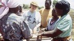 Victoria Wood joins in at a project in Zimbabwe, 1995