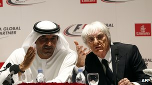Sheikh Ahmed bin Saeed al-Maktoum (L) and Bernie Ecclestone (R)