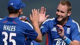 Stuart Broad celebrates the second wicket of his hat-trick