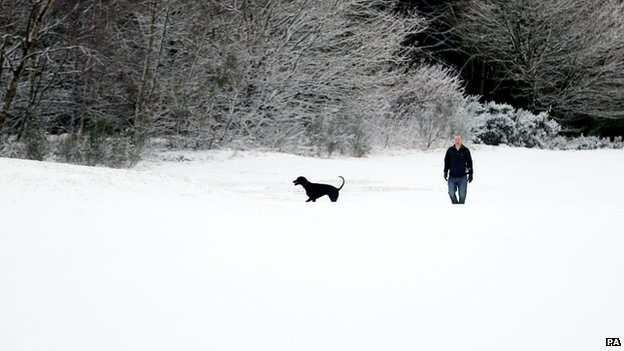 Snow has fallen around parts of northern England, Scotland and Northern Ireland.
