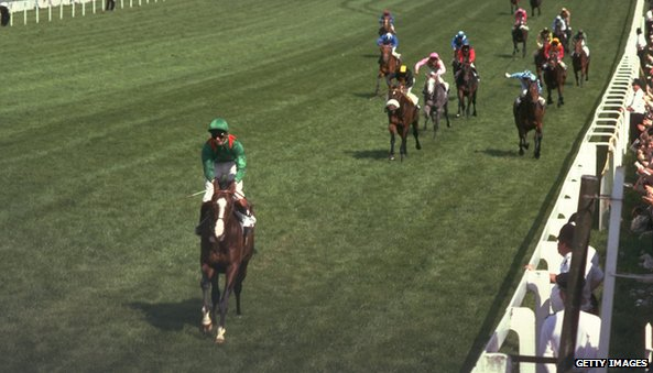 Shergar wins the 1981 Epsom Derby