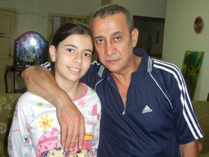 Abu Rami and his daughter Maya
