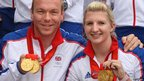 Chris Hoy and Rebecca Adlington arrive home from the Beijing Olympic Games