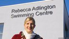 Rebecca Adlington outside the Rebecca Adlington Swimming Centre
