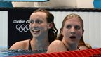 Katie Ledecky and Rebecca Adlington in the pool at London 2012