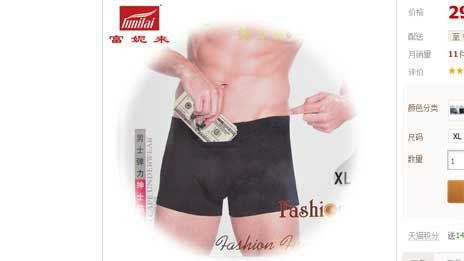 Underwear with secret money pocket