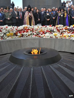 Leading Armenian politicians, clerics, officials and army officers lay flowers at the genocide monument to Armenians killed by Ottoman Turks during World War I in Yerevan, on 24 April 2012, on the 97th anniversary of the Armenian genocide