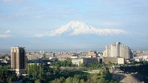 View of the Armenian capital Yerevan with Mr Ararat in the background