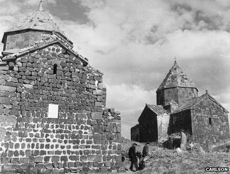 Ancient churches on the island of Sevan, in Lake Sevan, Armenia