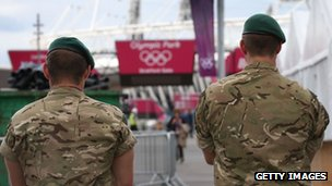 Soldiers at the Olympic Park on