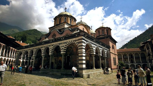 Picture of the Church of The Birth of Holy Mother (1834-1837) in Rila Monastery, about 120km south of the capital Sofia.