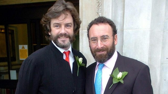 Sir Antony Sher (right) with Greg Doran outside Islington Town Hall on 21 December 2005 after their civil partnership ceremony